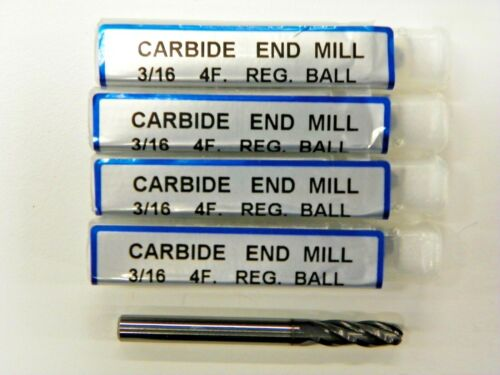 """YG1 SOLID CARBIDE 3//16/"""" BALL END MILL GENERIC by YG-1 TiALN COATED   E041 5 PCS"""