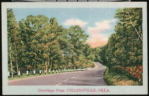 COLLINSVILLE-OK-Vtg-Greeting-Postcard-Country-Road