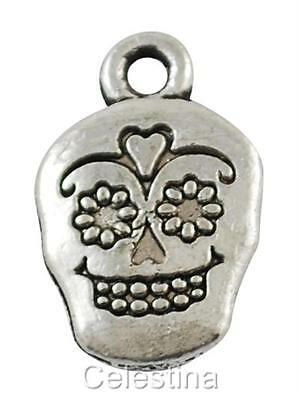 12 Skull Charms - Antique Silver Sugar  LF NF - Day Of The Dead HALLOWEEN 18mm