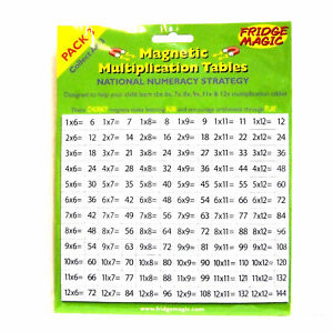 Magnetic Numbers Multiplication Tables 6,7,8,9,11,12 Pack 3 Fridge Magic NEW