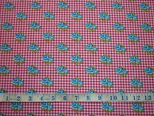 CLEARANCE YARD BRIGHT GINGHAM CHECK VINTAGE ROSE FLOWERS FABRIC PINK RED