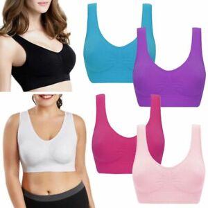 3 pack Womens Seamless Comfort Stretch Padded Sports Bra Crop Top Vest S-3XL