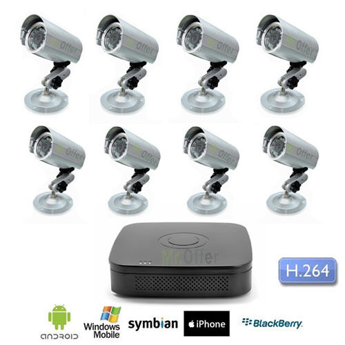 Kit Videosorveglianza 8 canali DVR telecamere Sony CCD 36 led 1200 TVL no HD