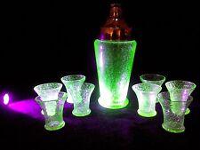 ART DECO COCKTAIL SHAKER  URANIUM CRACKLE GLASS 8 SHOT GLASSES Reduced