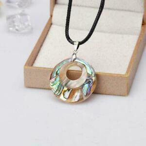 Lady-Schoene-Farbe-Natuerliche-Abalone-Muschel-Perlen-amp-Sc-Anhaenger-Halskette-T7V8