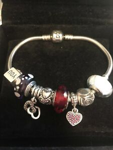 Pandora-charm-bracelet-19cm-genuine-charms-Purple-Red-And-White-Great-Gift