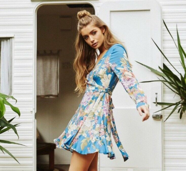NWT Spell And The Gypsy Collective Blau Skies Mini Wrap Dress, S