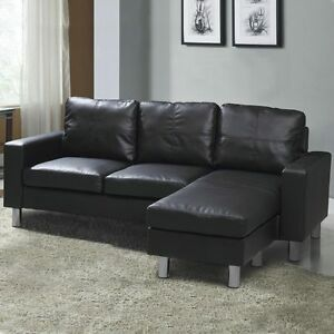 Image Is Loading Modern Compact Black Faux Leather 3 Seater L