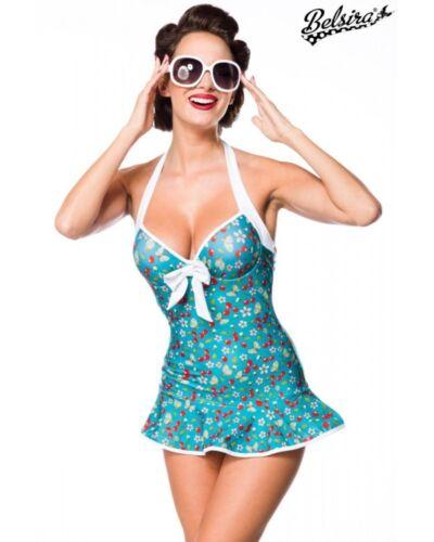 Vintage Swimdress blau Kirschen grün weiß S M L XL 2XL 3XL Belsira Badekleid