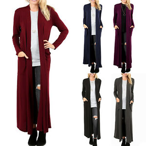 Women's Cardigan Duster Full Length Maxi Sweater Flyaway Open ...