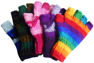 FAIR-TRADE-WOOL-HIPPY-BOHO-SKATE-SKI-FINGERLESS-GLOVES