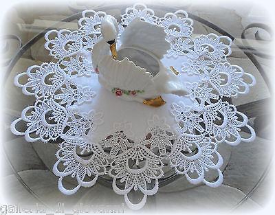 """Doily 17""""  Round  DECADENT WHITE   European Lace"""