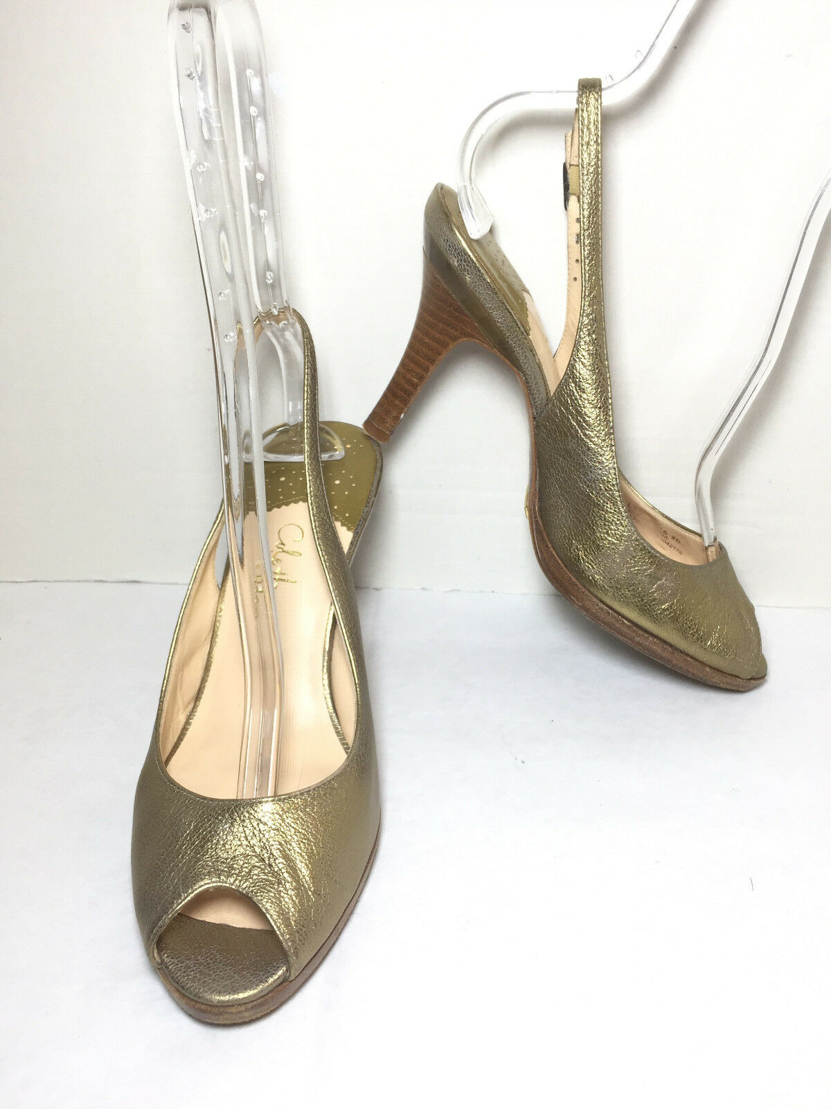 COLE HAAN Women's gold Peep Toe Slingback Pumps Size US 8 B