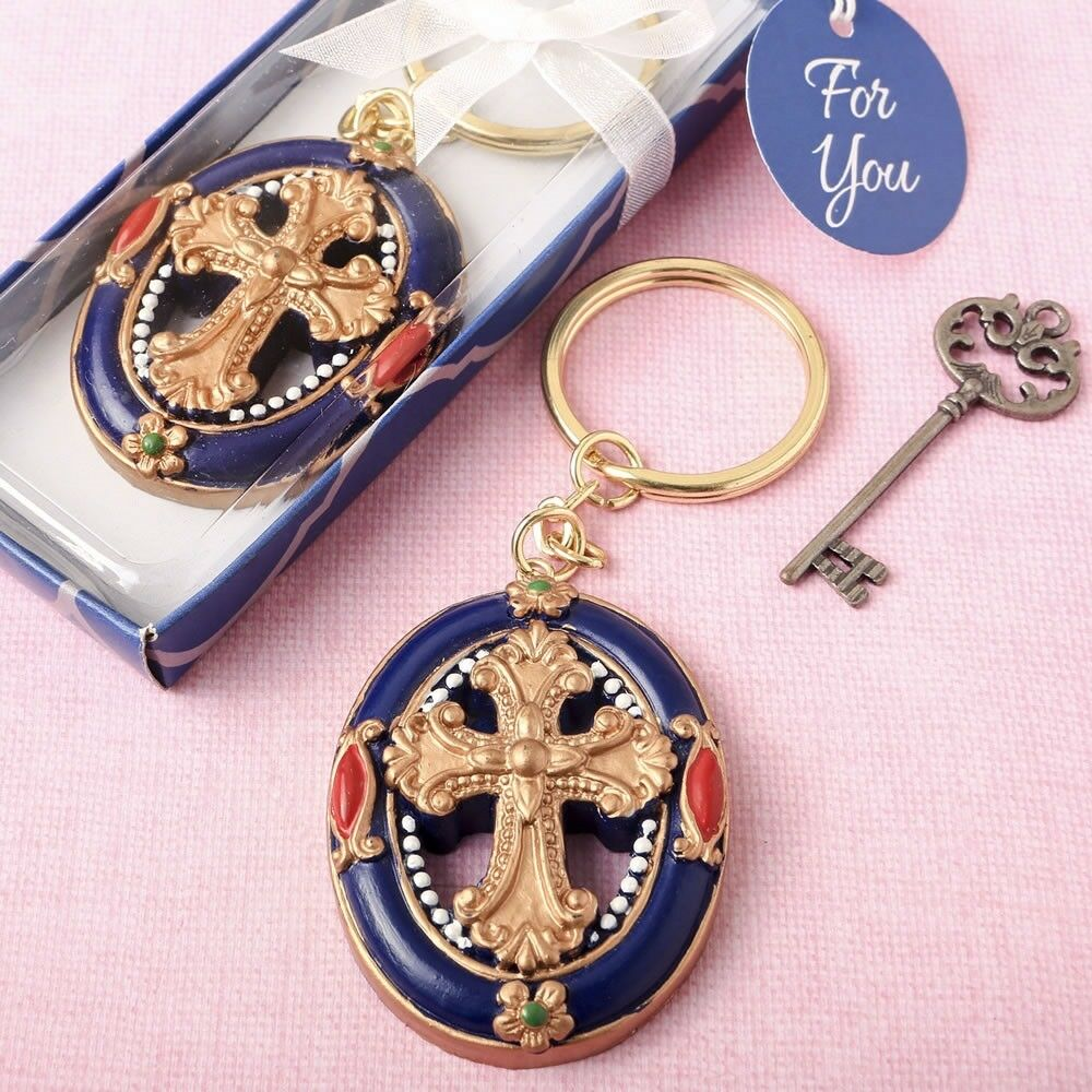 30 Gold Cross Keychains Religious Christening Baptism Communion Party Party Party Favors 587095