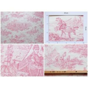 Coupon-fabric-toile-de-jouy-story-water-bordeaux-cream-background