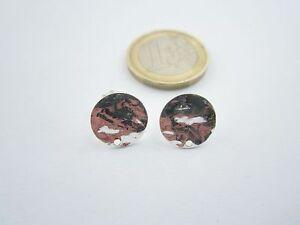 1 paio di basi per orecchini tondino 12 mm martellato e stropicciato argento 925