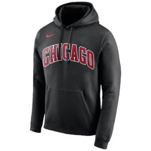Details about NIKE CHICAGO BULLS WORDMARK HOODIE BlackRed.