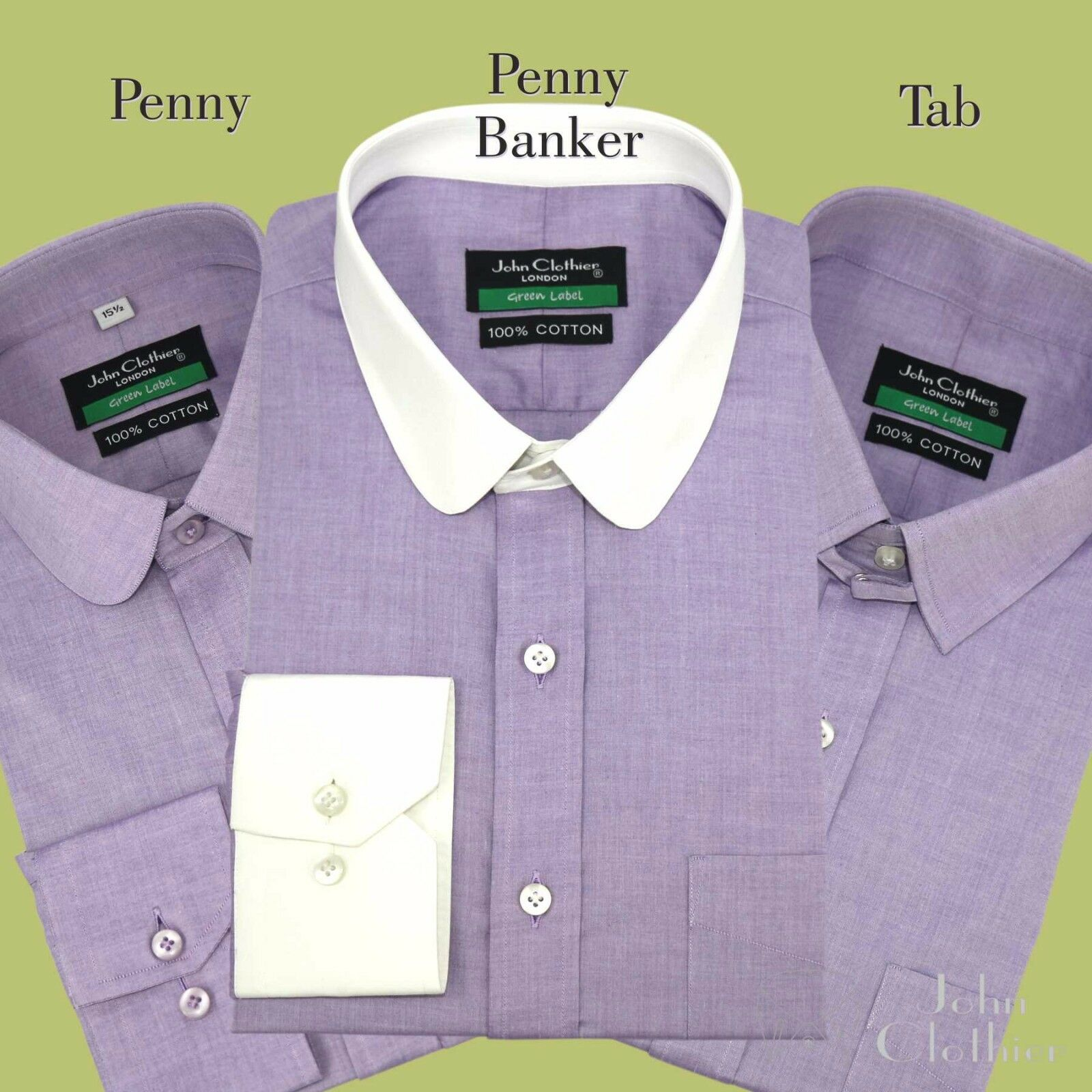 Herren Bankers Lilac lila shirt Penny collar Tab collar Cotton Gents Club Loop