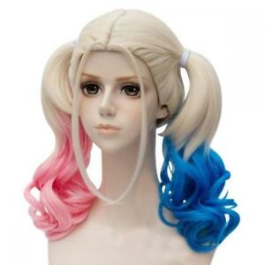 Harley-Quinn-Wig-from-Suicide-Squad-Blonde-with-Pink-amp-Blue-Pigtails-One-Size