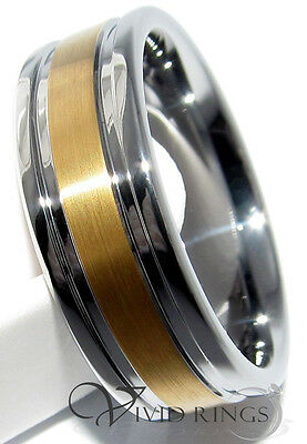 Mens Tungsten Carbide Ring 18K Gold Plated Grooves Wedding Band Size 8 to 14.5