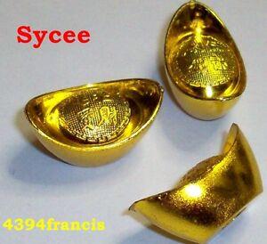 Feng Shui Lot 3 Lingots Sycee Dorés Feng Shui Golden Yuanbao 1 Tael Boat Ua2zrzd6-07224208-528971641