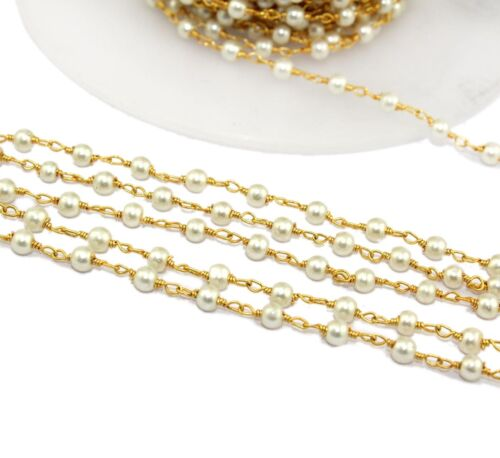 Ch054 Natural White Pearl 24k Gold Plated Beaded Rosary Chain Making DIY Jewelry
