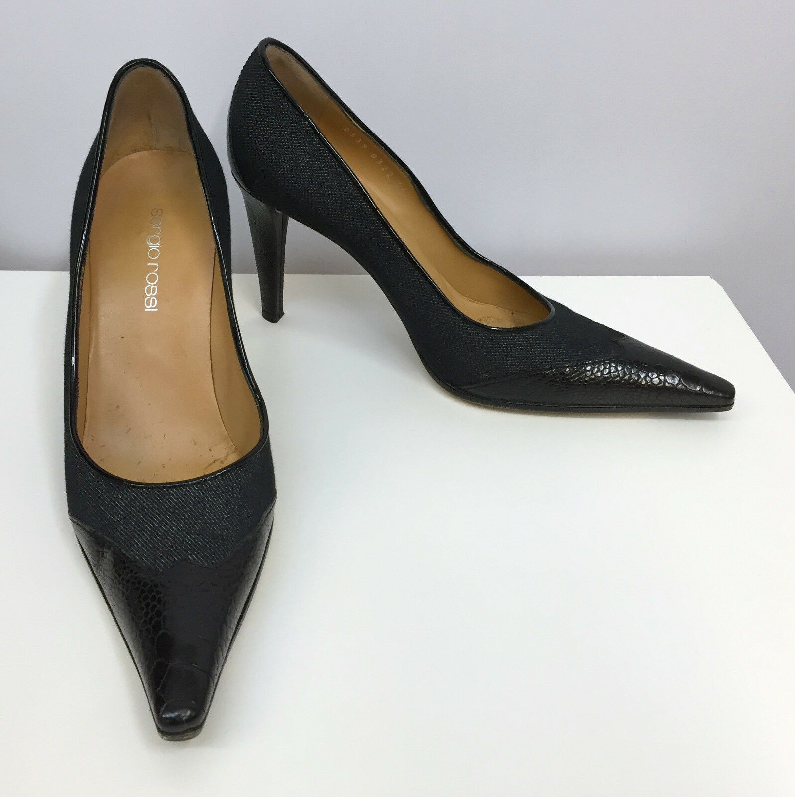 SERGIO ROSSI scarpe nero DENIM & OSTRICH LEG SEXY AND HIGH QUALITY Dimensione 36