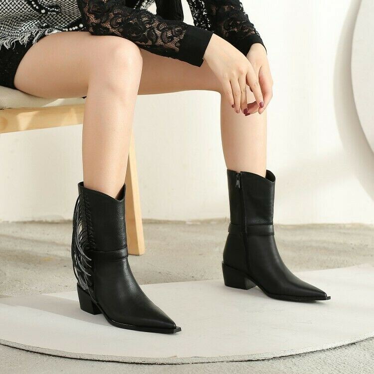 Womens Ladies Fashion Leather Pointed Toe Tassel Western Cowboy Boots Shoes SKGB