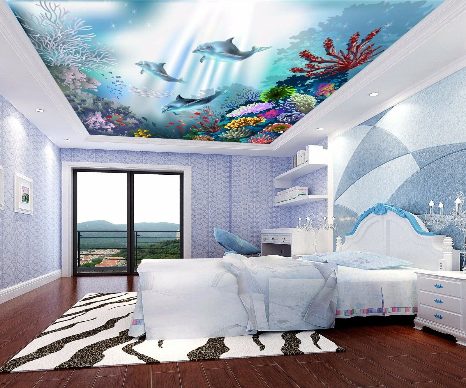 3D Pretty Coral 6 Ceiling WallPaper Murals Wall Print Decal Deco AJ WALLPAPER UK