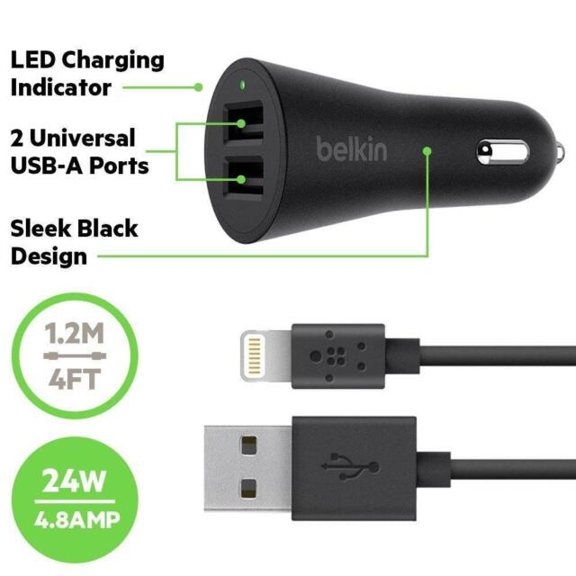 Belkin 4.8 A Dual Car Charger with 1.2m Lightning Cable for iPhone iPad - Black