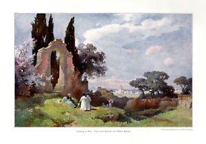 Fruehling-in-Rom-XL-Kunstdruck-1910-von-Richard-Puettner-in-Wurzen-Italien-Park