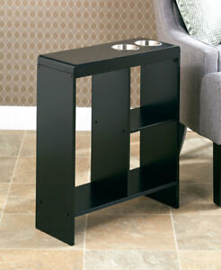 Image Is Loading Slim End Tables Wooden Narrow W Drink Holders