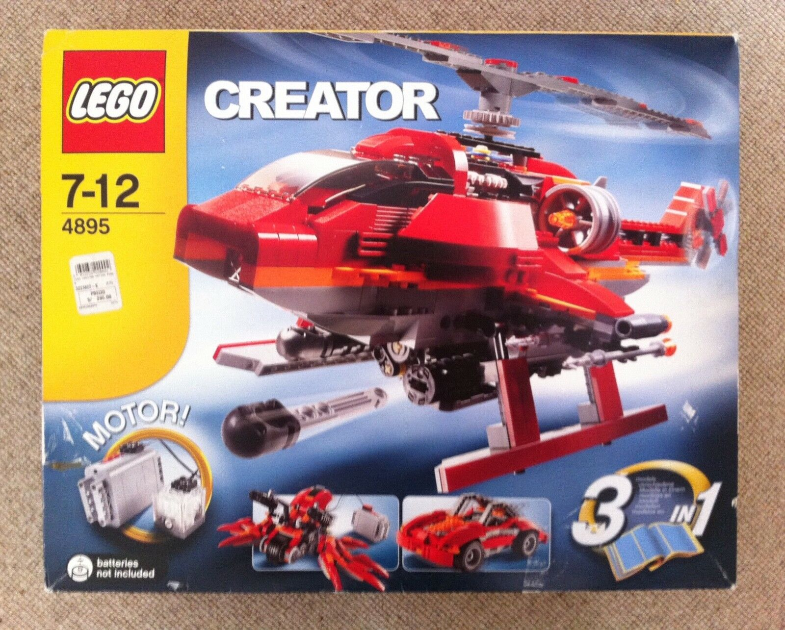 Lego Creator 4895 3-in-1 3-in-1 3-in-1 -Motorized helicopter gunship car and spider car 3883c5