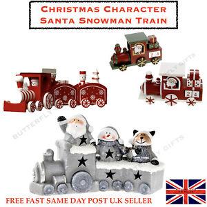 TRENO-di-legno-natalizio-Natale-Addobbo-Babbo-Natale-Pupazzo-di-Neve-Decorazione-Bambini-Festive