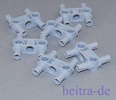 LEGO Technik - 6 x Verbinder 3 Noppen lang mit 4 x Pin, hellgrau / 48989 NEUWARE