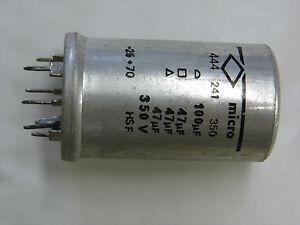 condensateur MICRO 100µF+47µF(x3) 350V (ancienne fabrication) dia:35mm haut:61mm