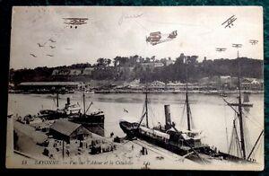CPA-BAYONNE-64-Vue-sur-l-039-Adour-et-la-Citadelle-1921-Avions-dessines-Main