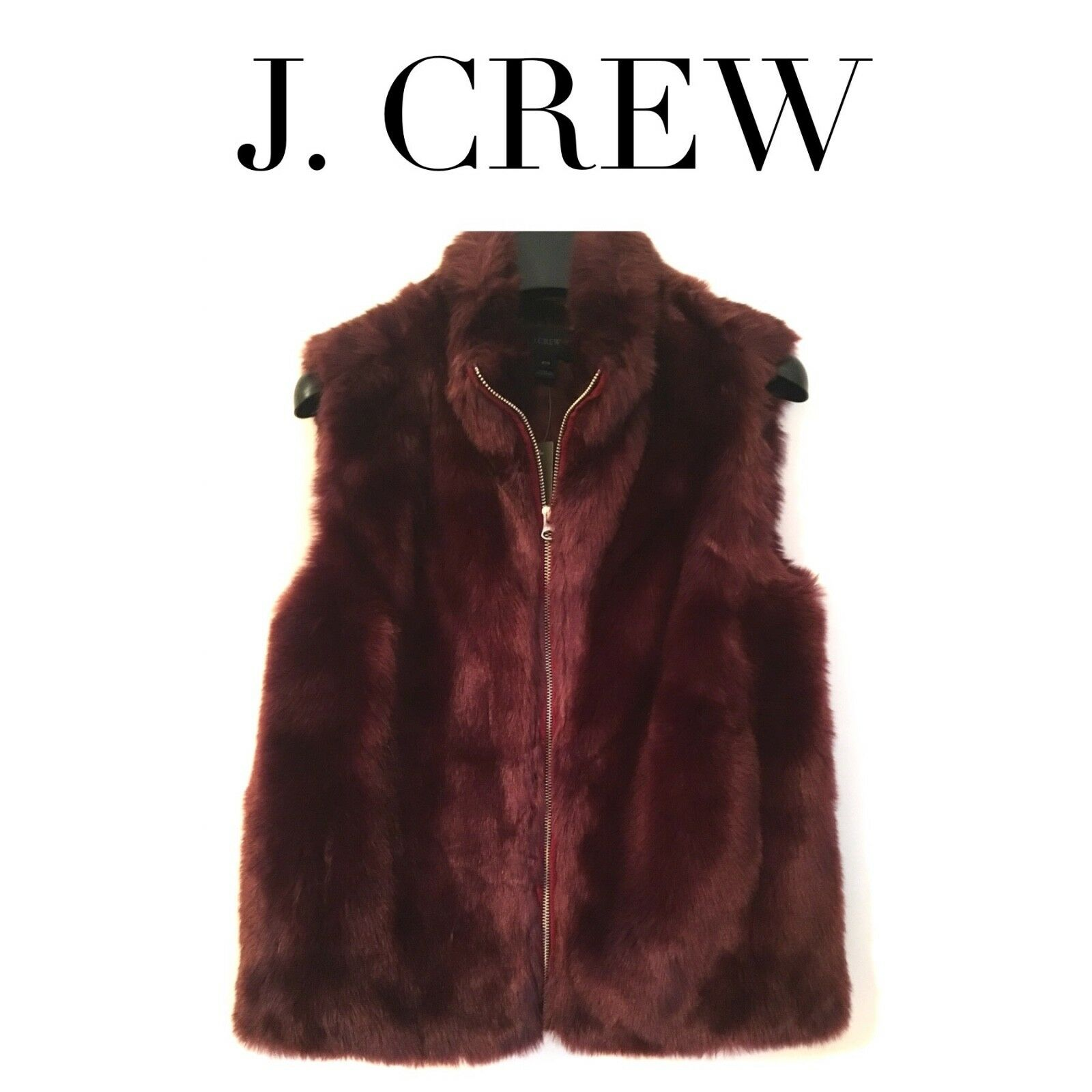 J CREW Faux Fur Vest Vivid Burgundy XS SMALL MEDIUM PETITE H0840 NEW SOLD OUT