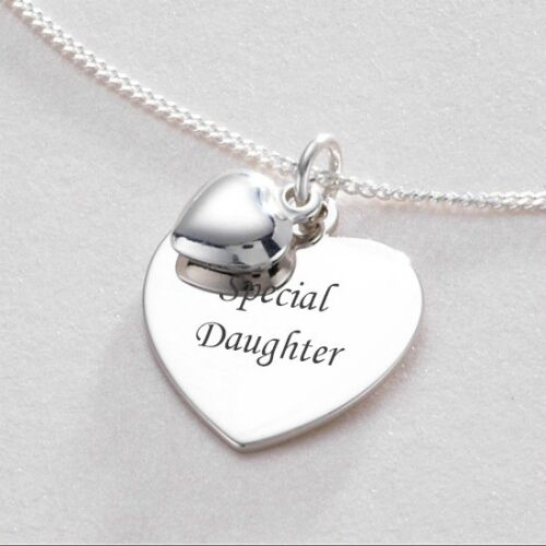 Sterling Silver Engraved Twin Heart Necklace Gift Boxed Pendant Engraving