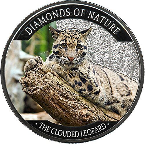 Fiji 2013 10$ Wildlife Diamonds of Nature The Clouded Leopard Silver Proof Coin