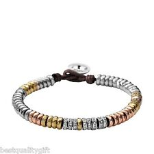 FOSSIL 3 TONE,SILVER, ROSE,GOLD PAVE CRYSTAL BEADS+BROWN CORD BRACELET JA5808