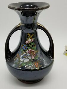 Hand Painted Beautiful Japanese Black Vase - Made in Japan - Floral 53