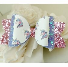 Kimberley Unicorn Glitter Artisan Fabric Hair Bow Clip 3.5""