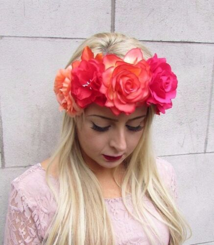 Large Hot Pink Orange Red Rose Flower Sugar Skull Headband Day of Dead Big 4123