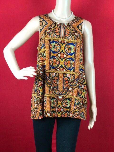 0ee2becdc1e54 Lucky BRAND Womens Sleeveless Printed Shell Top Orange multi Large ...