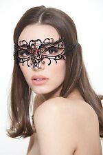 Elegant Venetian Laser Cut Masquerade Mask BD004RDBK Black w/ Red Rhinestones