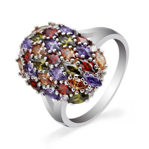 Multi-color-Amethyst-Garnet-Topaz-925-Silver-Engagement-Ring-Jewelry-Size-6-9