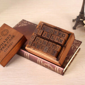 Image Is Loading PF Vintage Wooden Letter Rubber Stamp Kit 28