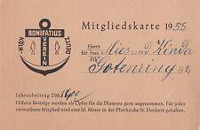 Mitgliedskarte 1955 Bonifatius-Verein Köln-Deutz Kirche Dokument Ausweis rar