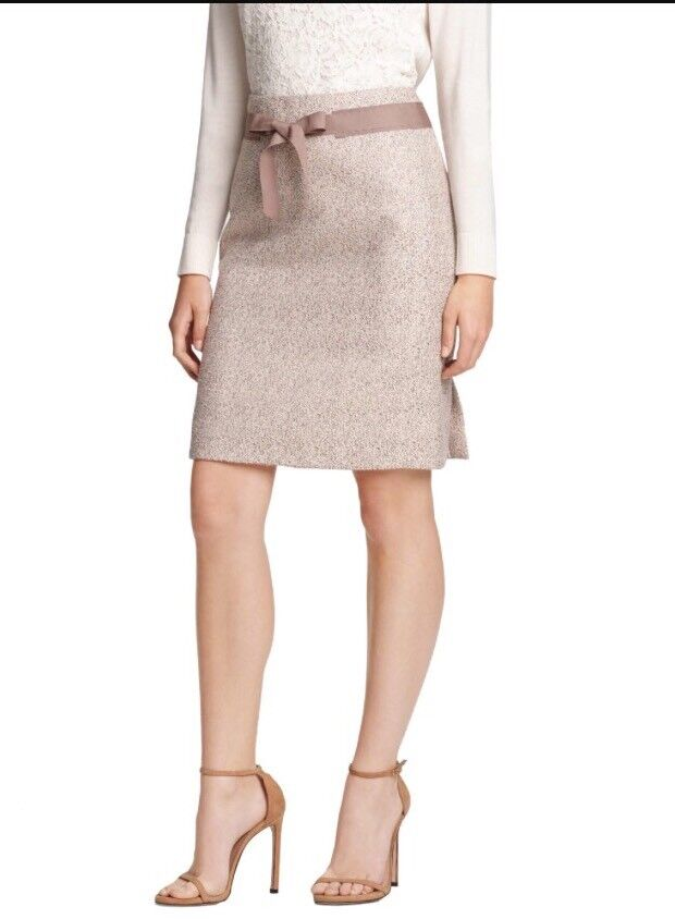 NWT Draper James Delia Mertallic Tan Tweed Pencil Skirt Size 2 Holiday Party